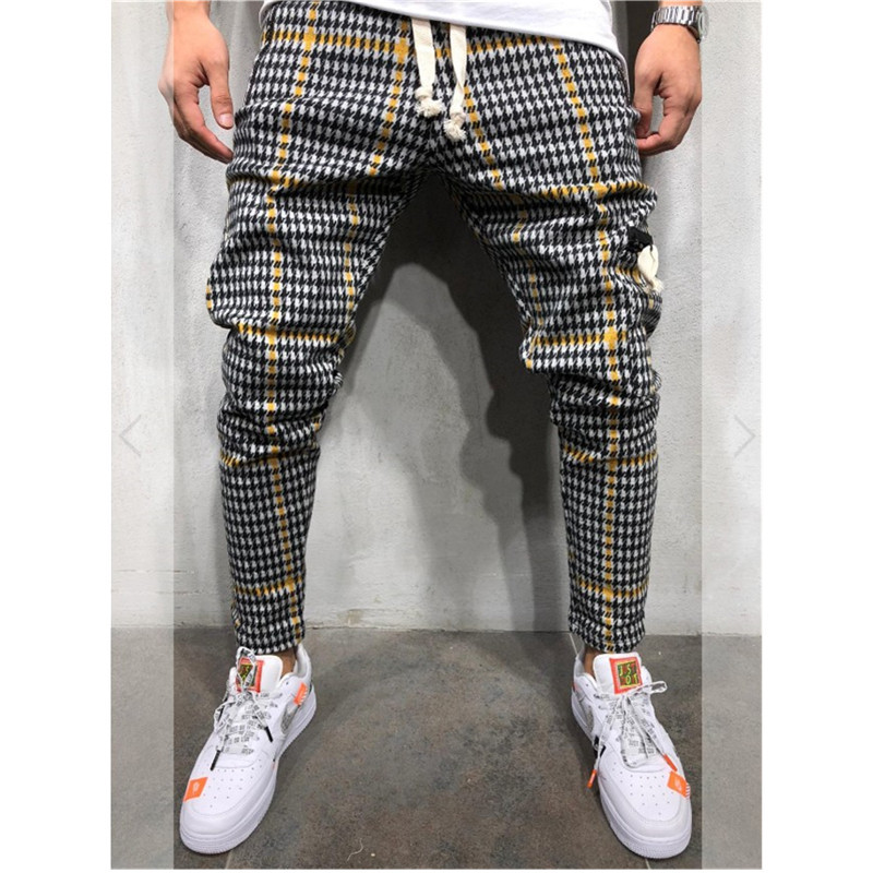 Casual Plaid Ankle-Length Pants Men Trousers Hip Hop Jogger Pants Men Sweatpants Japanese Streetwear Men Pants 2019 New