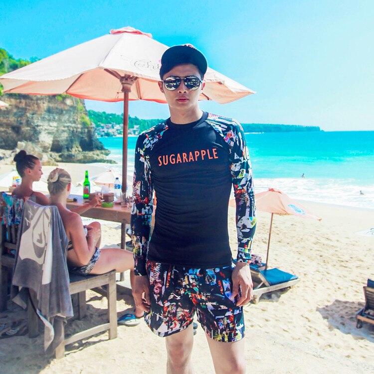 2017 South Korea Men Long Sleeve Beach Bathing Suit-Style Running Man Swimwear Beach Clothing Sun-resistant Men's Bathing Suit