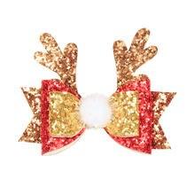 Рождественский новый милый рога оленя для волос заколки праздничный