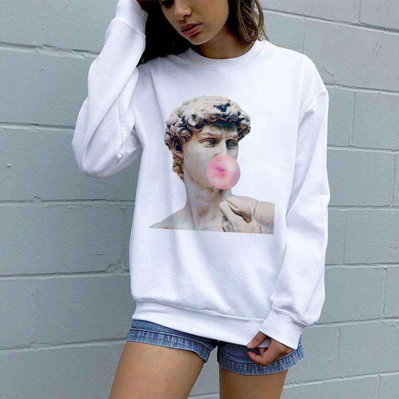 Korean Style Harajuku Vintage Michelangelo Aesthetic Printing Winter Female Fashion Casual Personality Loose Women Sweatshirt