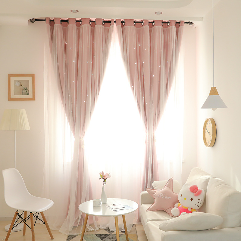 Korean Double Pink Princess Curtains for Living Room Hollow Stars Lace Curtain for Bedroom Shade Curtain Tulle Cloth(China)