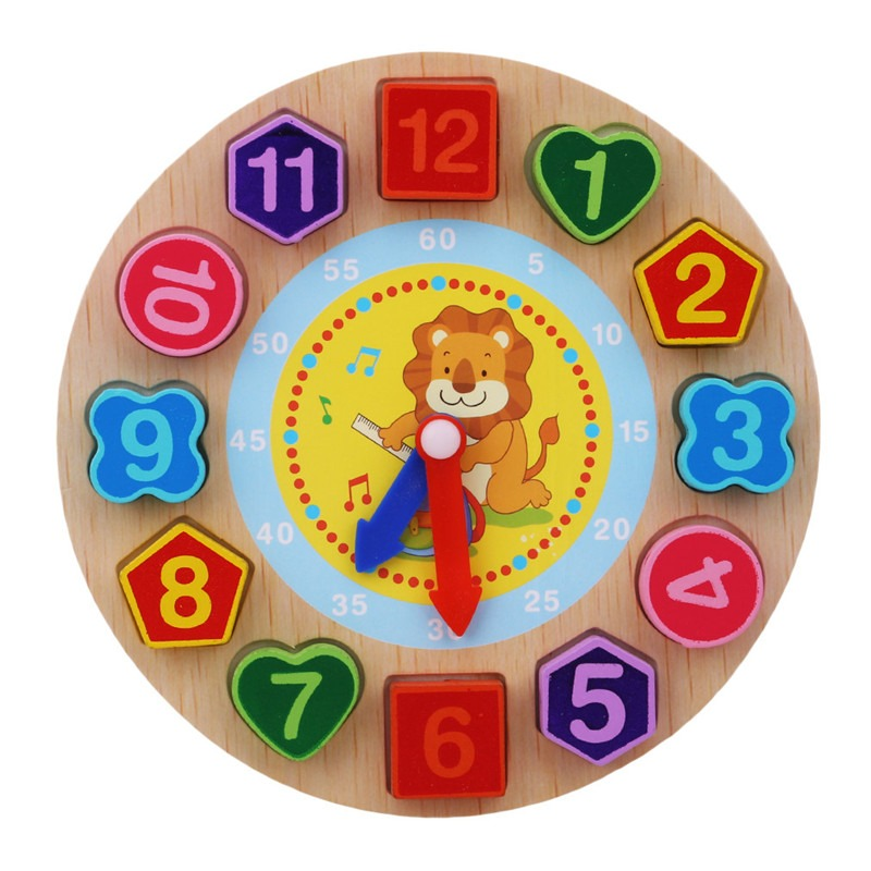 Montessori Cartoon Animal Educational Wooden Beaded Geometry Digital Clock Puzzles Gadgets Matching Clock Toy For Children 8