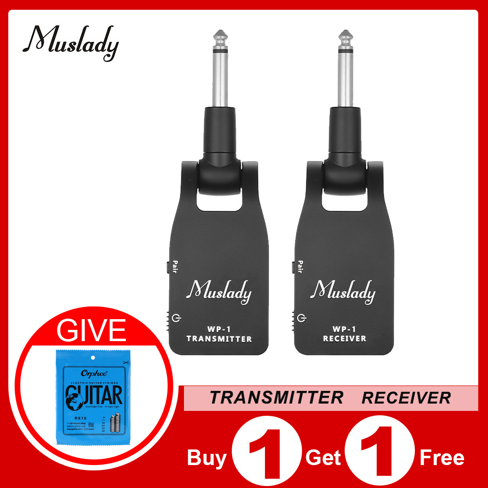 Muslady 2.4G Wireless Guitar System Transmitter & Receiver Built-in Rechargeable Lithium Battery 30M Transmission