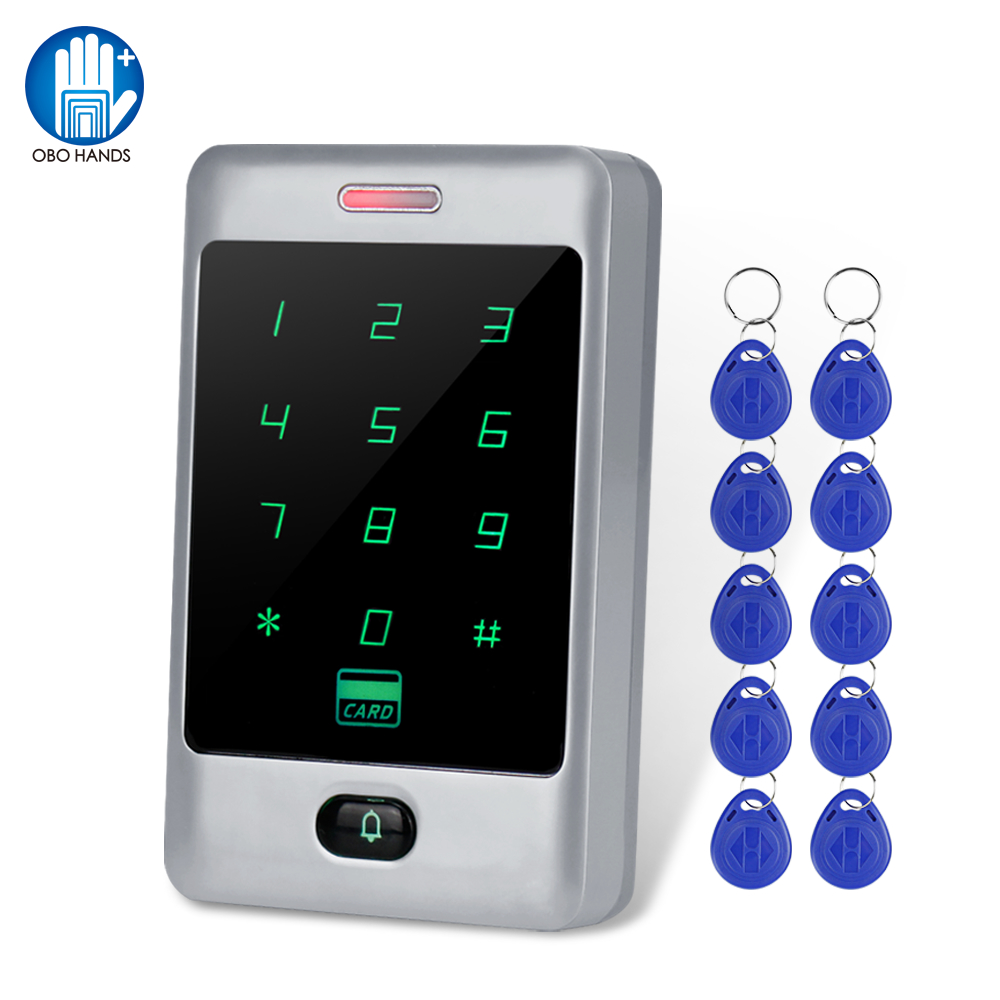 125KHz Metal Touch RFID Keypad Access Controller Reader Keyboard Door Opener Lock Security System WG26/34 Backlight + 10 Keyfobs