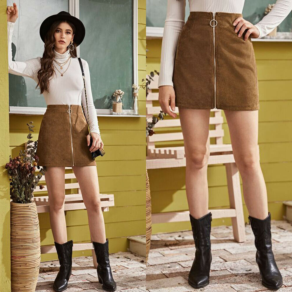 Fashion Women Corduroy Skirt New Arrival Mini Slim Skirt Casual High Waist Zipper Bodycon Ladies Skirts Vintage Womens Skirts