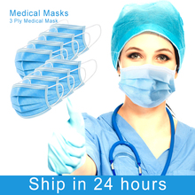 In stock 50 pcs Surgical mask N95 Face Mouth Masks 3 Layer Non Woven Disposable Medical Anti-Dust Surgical Medical Masks KN95