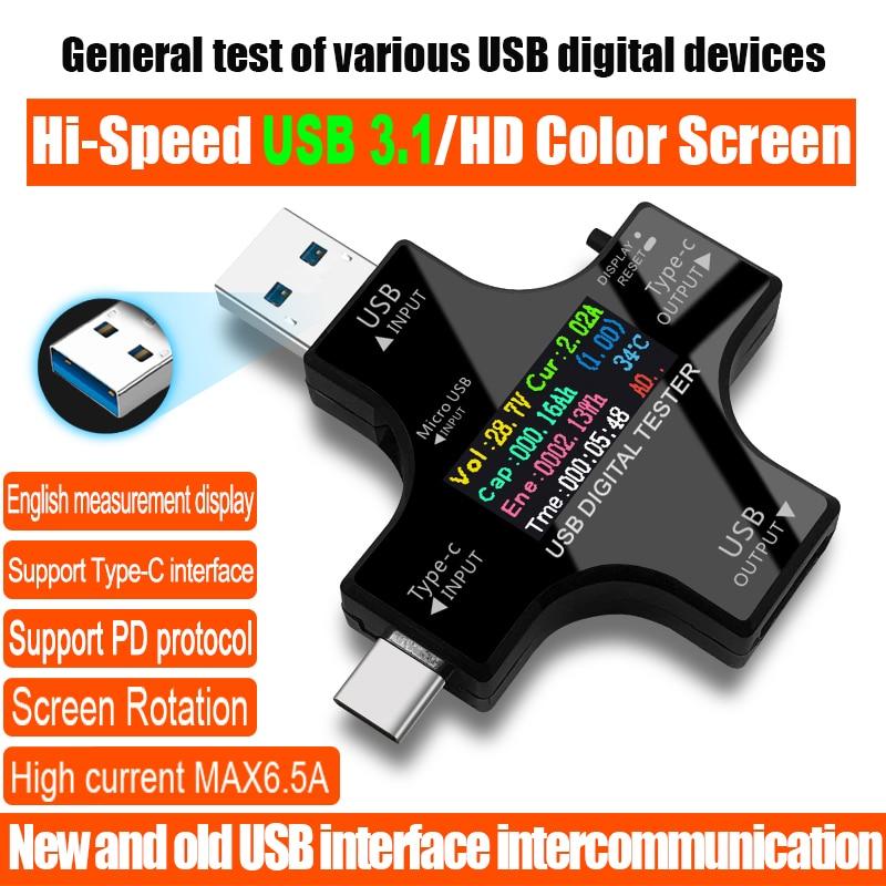 USB 3,1 Type-C USB Тестер DC Цифровой вольтметр amperimetor Напряжение Ток Амперметр детектор power bank зарядное устройство индикатор
