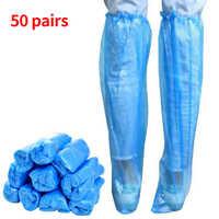 50 пар защитных одноразовых чехлов для обуви PE для путешествий; Ботинки для дождливого дня; Универсальные водонепроницаемые противоскользя...