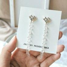 Clip On Crystal Earrings Extra Long Tassel Transparent Heart