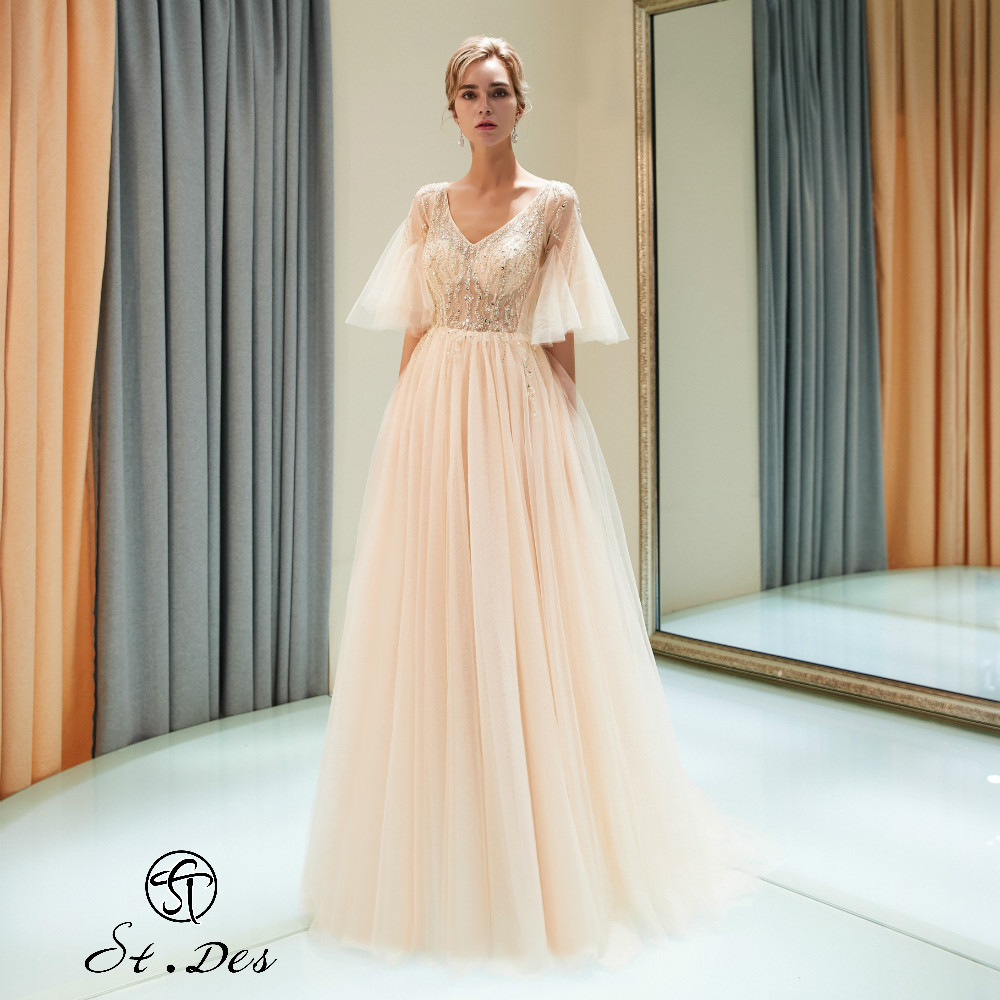 NEW Arrival 2020 St.Des A-line V-neck Russian Champagne Designer Brilliant Elegant Floor Length Evening Dress Party Dress