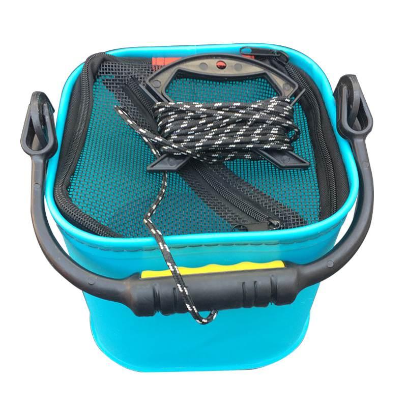 Spor ve Eğlence'ten Balıkçılık Makara Kutuları'de 20 CM EVA su kovası halat ile katlanabilir kova kamp/balıkçılık (mavi) title=