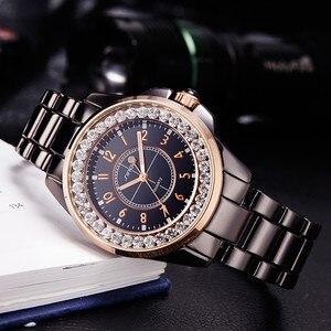 Image 2 - SINOBI אופנה נשים יד יהלומים שעונים חיקוי קרמיקה רצועת השעון למעלה יוקרה מותג שמלת גבירותיי ז נבה קוורץ שעון 2020