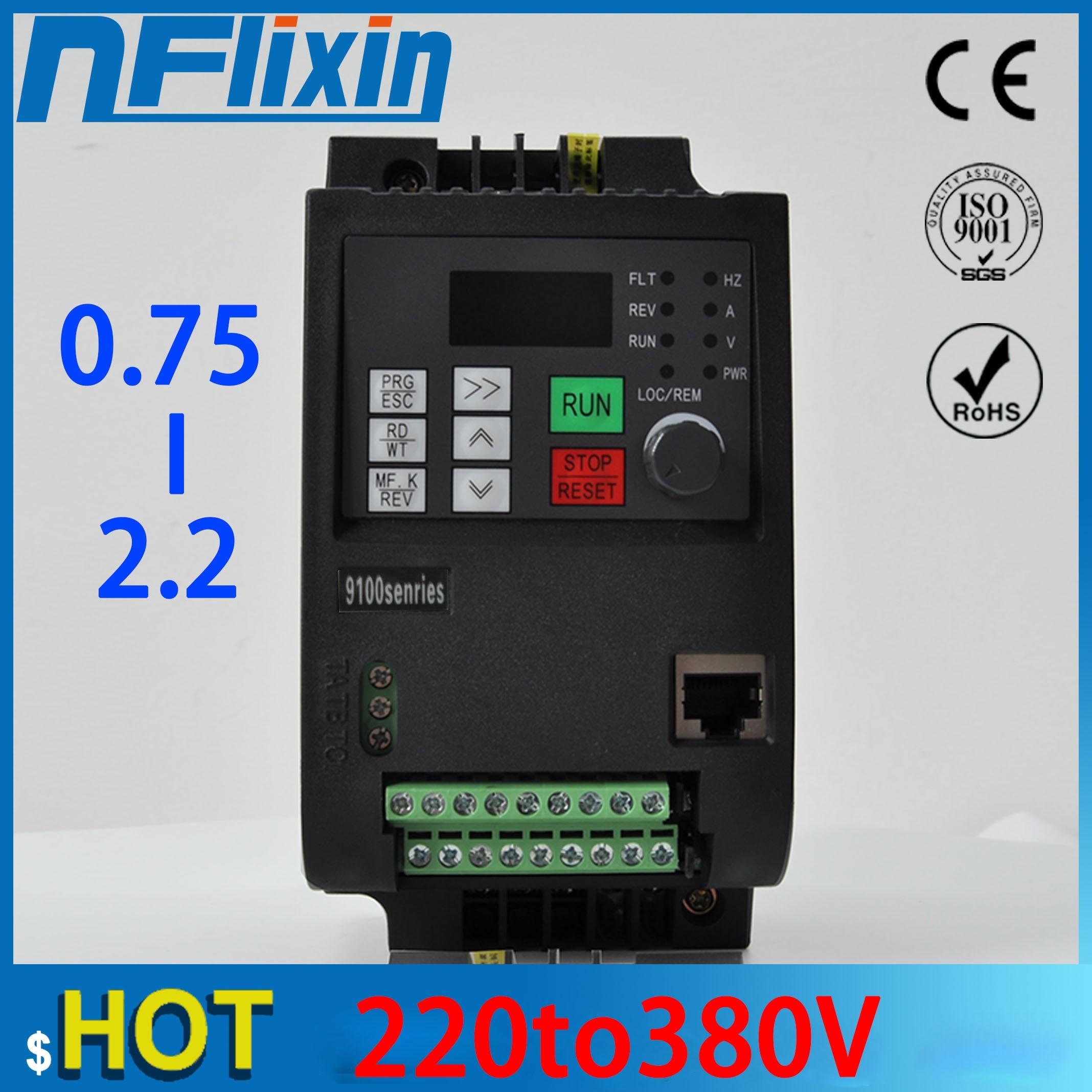 750W / 1500W / 2200W 220V переменного тока для 3 фазы 380 В частотно-регулируемый привод VFD инвертор для 3.0KW шпинделя 2200 Вт с частотно-регулируемым привод...