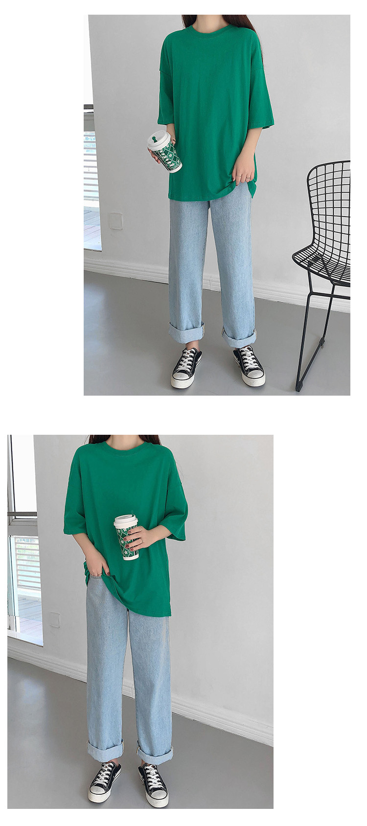 H53037dd91a0646719f492d86614cd78cd - Summer O-Neck Short Sleeves Minimalist Loose Basic T-Shirt