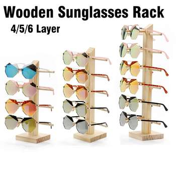 4/5/6 Layers Multi Layers Wood Sunglass Display Rack Shelf Eyeglasses Show Stand Jewelry Holder for Multi Pairs Glasses Showcase image