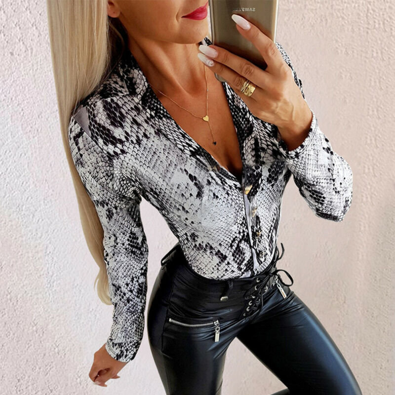Womens Ladies V Neck Leopard Print Bodysuit Long Sleeve Jumpsuit Playsuit Bodysuit Stretch Leotard Tops Size S-2XL
