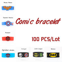 100 pz/lotto comic Braccialetti di Silicone Captain Wonder Woman Fascia Deadpool Giustizia Avenger League Batman commercio all'ingrosso Wristband regalo(China)