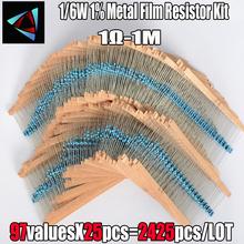 2425 sztuk 1 1 6W 97 wartość 1R ~ 1M Ohm rezystor z folii metalowej wybrane elementy elementy pasywne Z15 Drop ship tanie tanio NoEnName_Null Nowy Metal film rezystor Bezpo¶rednio hole