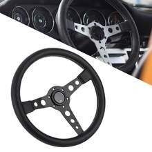 350mm/14in para momo prototipo estilo 6-bolt preto couro corrida volante cinza costura com chifre botão acessórios do carro