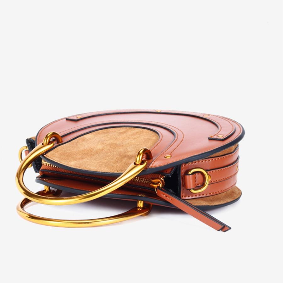 Bolso de cuero genuino para mujer, pequeño bolso redondo, bolso bandolera, bolso elegante para mujer KG280 - 4