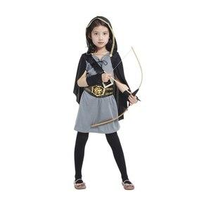 Image 1 - Детский костюм охотницы с капюшоном для девочек, средневековый Карнавальный костюм Рыцарь воин, вечерние костюмы для Хэллоуина