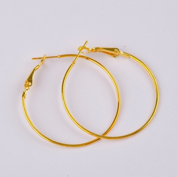 500pcs gold plated 30mm hoop earring findings round circle ring earrings jewelry findings accessories