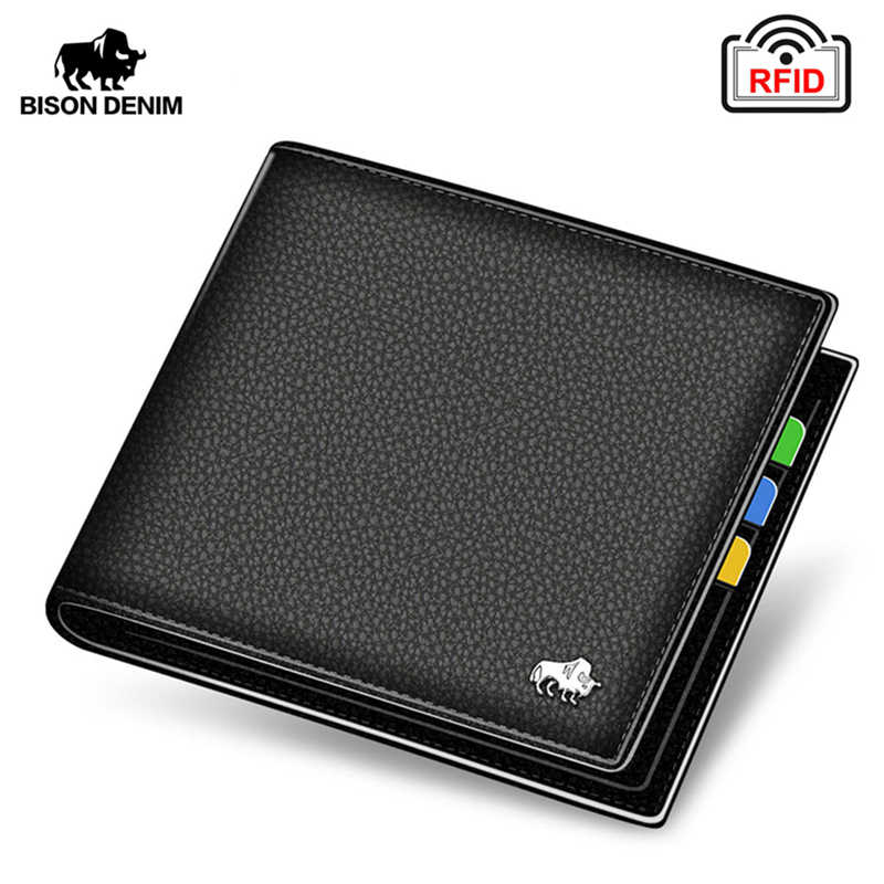 BISON DENIM Genuine Leather Men Wallets Brand Luxury RFID Bifold Wallet Zipper Coin Purse Business Card Holder Wallet N4470