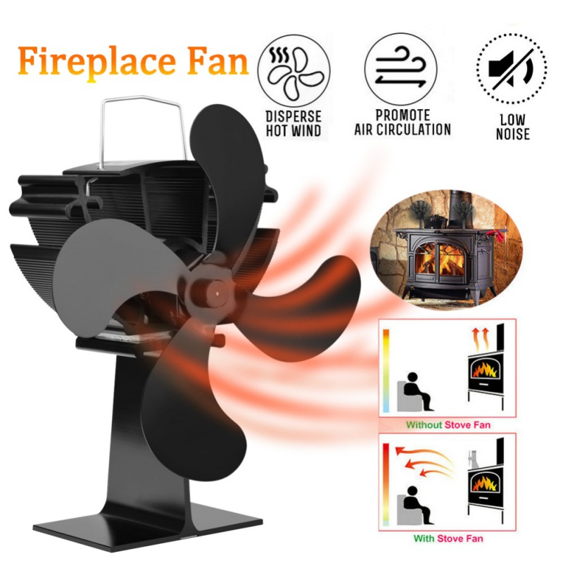 4 Blades Fireplace Fan Black Heat Powered Stove Fan Log Wood Burner Eco Friendly Quiet Fan Home Efficient Heat Distribution