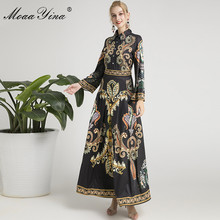 MoaaYina Fashion Designer Runway dress Autumn Winter Women Dress Flare Sleeve Vintage Print Maxi Dresses