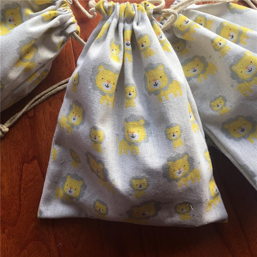 Cotton Linen Drawstring Eco Multi-purpose Bag Sorted Bag Party Gift Bag Baby Lion YL24b