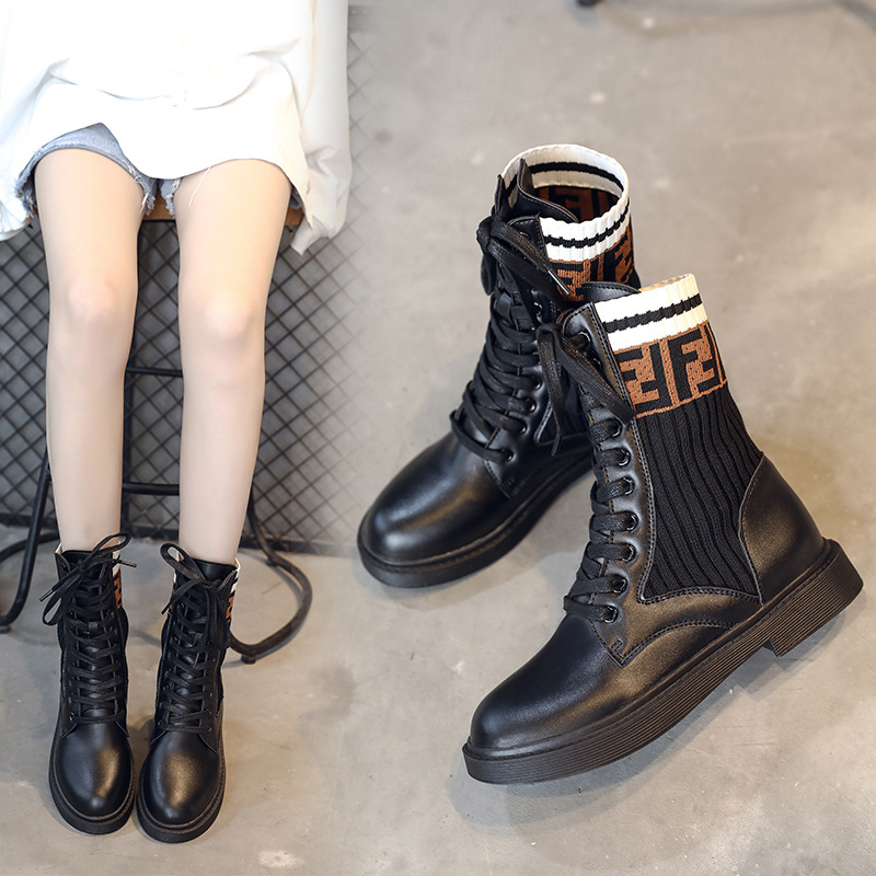 Europe And America Martin Boots Chunky Heel Boots Socks Boots Short WOMEN'S Flat-heeled Shoes Hight-top Lace Black Anti-slip Sho