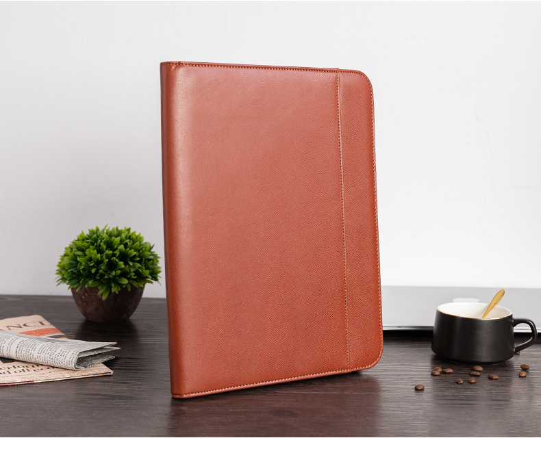 A4 Document Folder Padfolio PU Leather Conference Bag Office School Supply Briefcase File Folder Manager