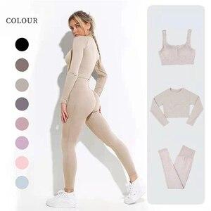 Conjunto de yoga sem costura roupas de treino para as mulheres esportes treino ginásio conjunto de roupas de fitness manga longa terno de yoga roupa