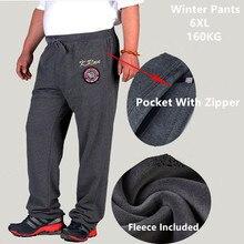 חורף מכנסיים גברים שחור כהה כחול אפור חם עבה צמר מכנסיים Mens Loose גבוהה אלסטי מותניים 150KG בתוספת גודל 5XL 6XL בגדים