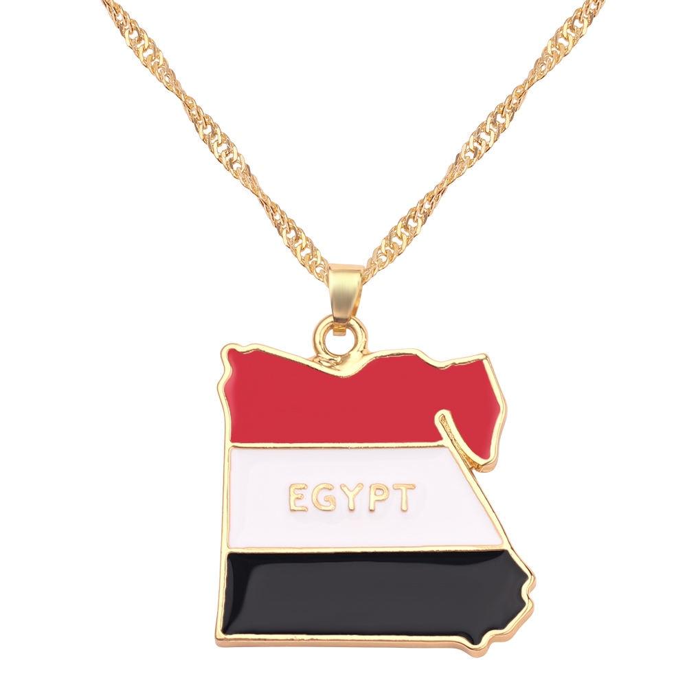 Новая карта страны, флаг, ожерелье, Африка, Гана, Liberia Undersea, Jamaica, Южная Африка, Congo, Honduras, подвеска, цепь, мужские ювелирные изделия - Окраска металла: Egypt