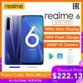 realme 6 Global Version Mobile Phone 4GB 8GB RAM 128GB ROM 30W EU Flash Charge 4300mAh Helio G90T 64MP Camera NFC Play Store