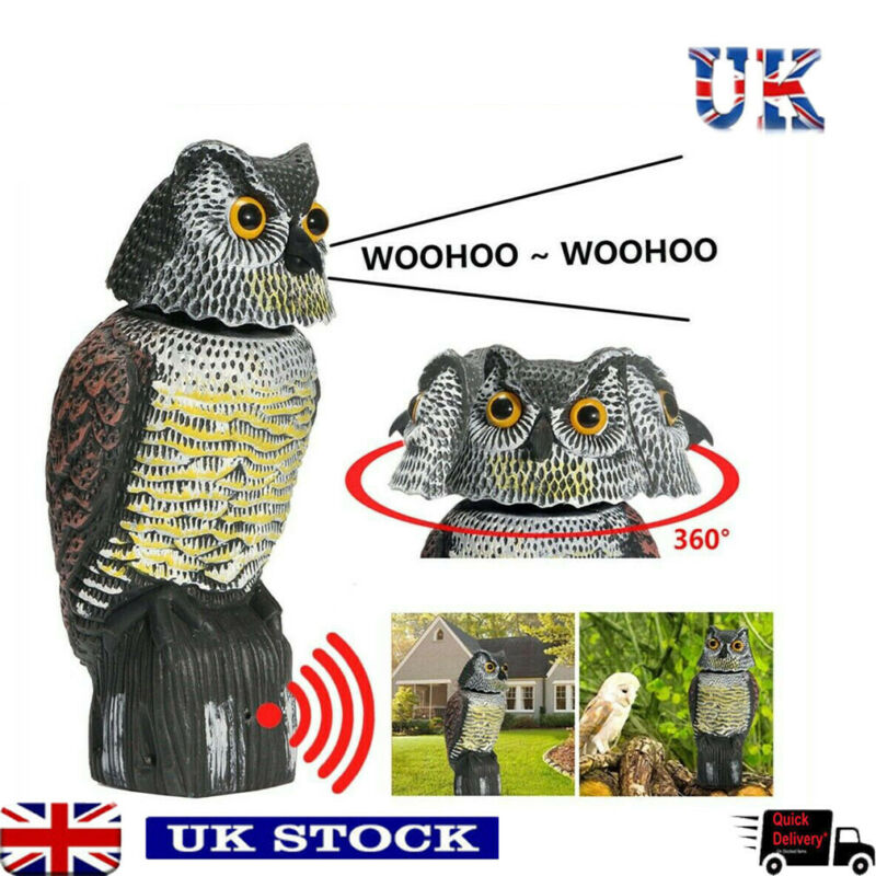 Faroot Realistic 360 Degree Rotating Bird Repellent Fake Owl Decoy Bird Scare Sound and Shadow Control Garden Yard Decor