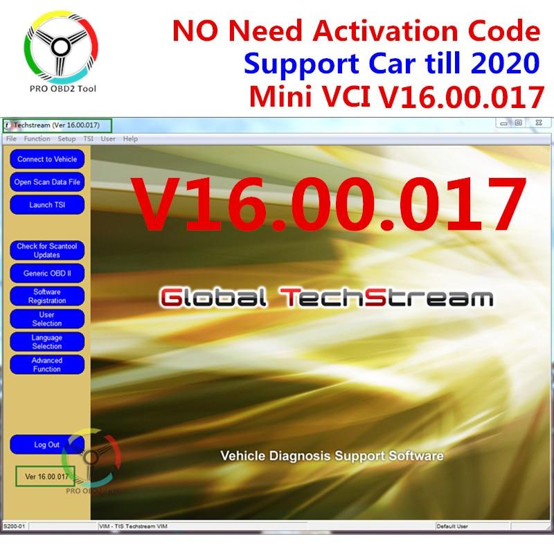 Мини-vci V16.00.017 для TOYOTA Techstream V15.00.028 MINI-VCI программное обеспечение Поддержка 2020 мини-vci V15