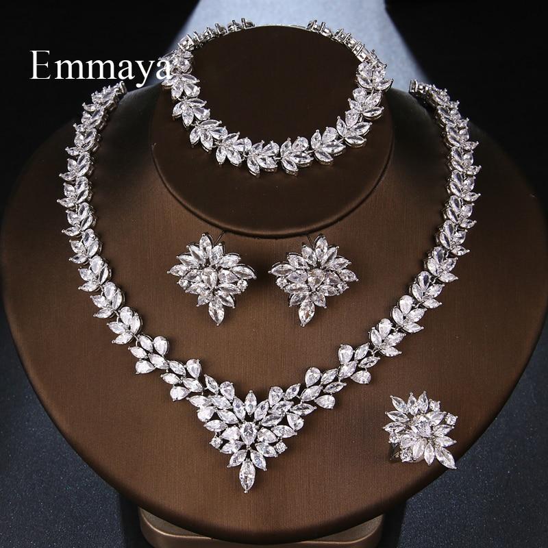 Emmaya Luxury Style Flower Shape Fascinating Design Four-piece Set Fashion Necklace For Female Brilliant Jewelry Party Dress-up