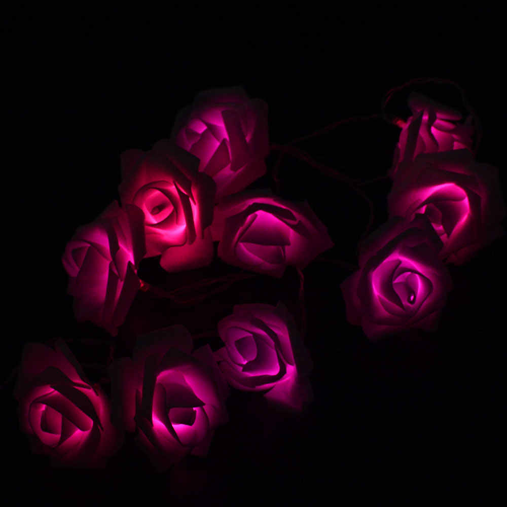3V 1.5M 10 LED AA แบตเตอรี่ไฟ LED Rose String ไฟงานแต่งงานดอกไม้ตกแต่งหลอดไฟ LED หลอดไฟ LED