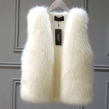 2020 New Winter Female Fox Fur Vest Coat Winter Warm White Black Gray Fur Vest Jacket Large Size 2XL Sleeveless Coat 1