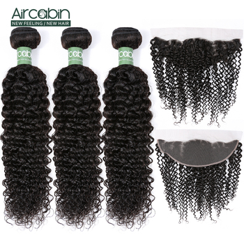 Aircabin Kinky Curly 3 Bundles with 13x4 Frontal Closure Brazilian Hair with Lace Frontal Remy Hair Extensions Natural Black alibaby 3 bundles with frontal remy kinky curly bundles with closure natural color human hair bundles with frontal closure 13x4