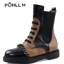 PUHLLM New 2019 brand ladies PU leather and ankle boots autumn winter fashion motorcycle street work bootsF35