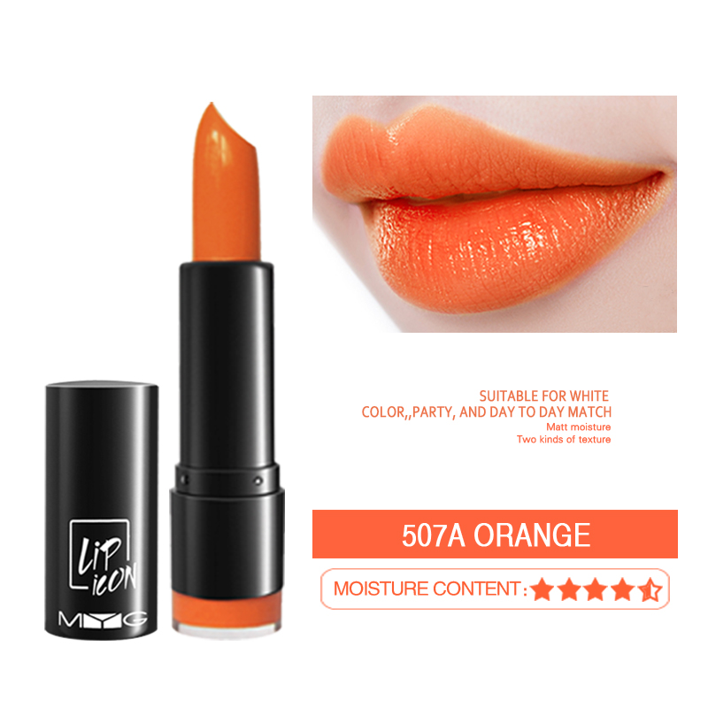 MYG Cosmetic Moisturize Lipstick Long Lasting Lipstick Red Orange Lipstick Makeup Available For Pregnant Women