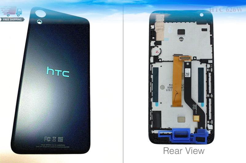 Good Original LCD Display Screen Assembly  + Back Housing Cover Case Blue  For Htc Desire 626 626W