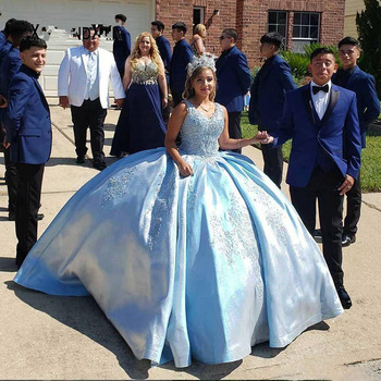 цены Elegant Sleeveless quinceanera dresses sweet 16 dresses blue ball gown girl pageant dresses beaded lace Adult Prom party Gown