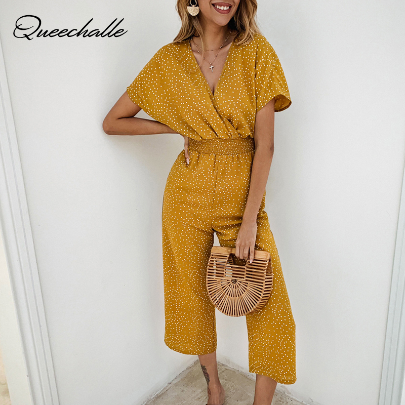 Yellow Women Jumpsuits Rompers Summer Casual Dots Print V-neck Pocket Overalls Short Sleeve Wide Leg Loose Jumpsuit Chiffon
