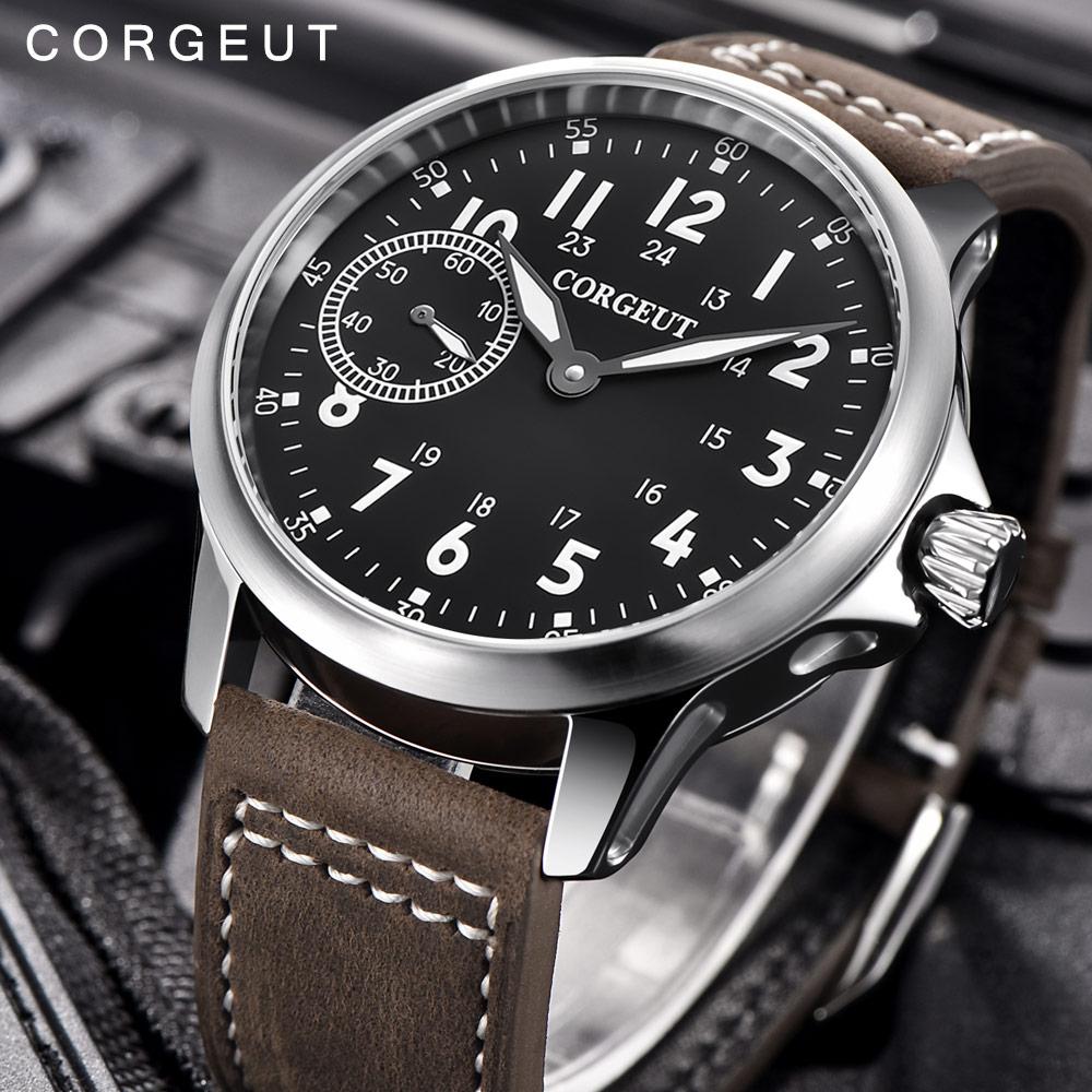 Corgeut Для мужчин мужской военный армейский Спорт часы классические роскошные 17 Jewels Чайка 6497 механическая ручная намотка светящиеся наручные...