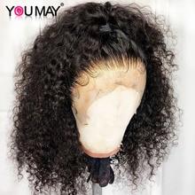 Pelucas frontales de encaje rizado Bob para mujer, pelucas de cabello humano con encaje frontal brasileño de Bob corto 13x6, corte de cuero cabelludo falso