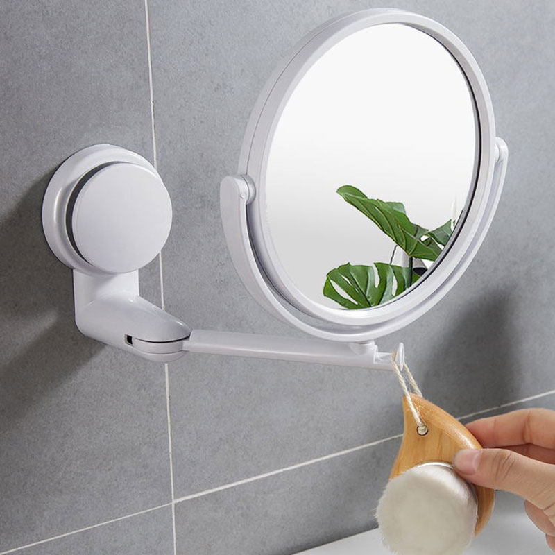 Table mirror integrated bathroom vanity mirror folding suction cup hole free large round mirror toilet rotatable mirror